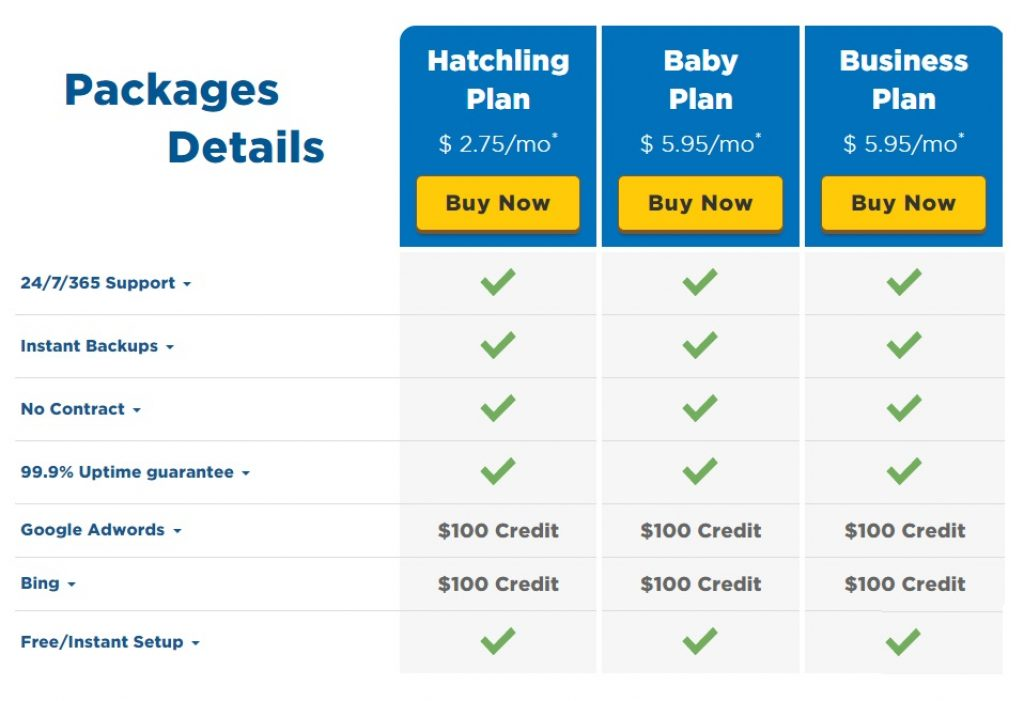 HostGator UK Packages Details